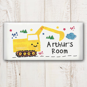 Personalised Digger Ceramic Door Plaque