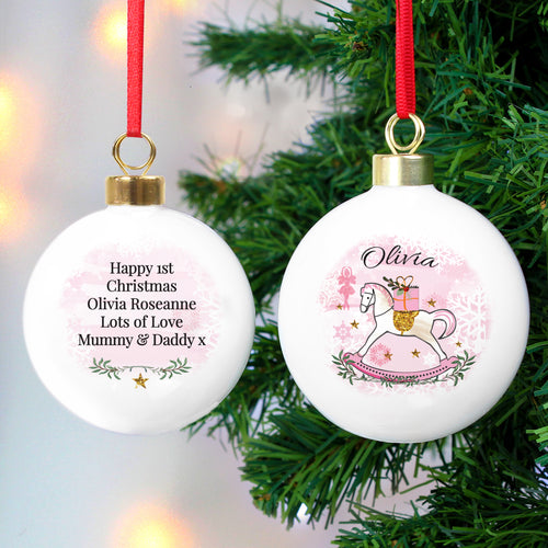 Personalised Ceramic Christmas Rocking Horse Bauble - Available in Pink or Blue