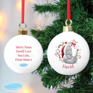 Personalised Me To You Christmas Bauble - Tatty Teddy with Santa Hat