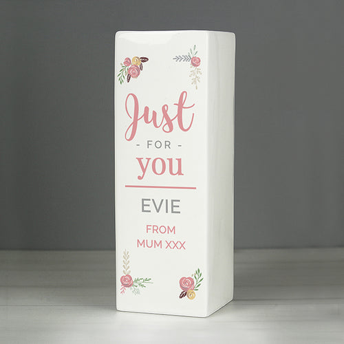 Personalised Floral Bouquet Square Vase - perfect for Birthdays, Weddings, Anniversaries etc.