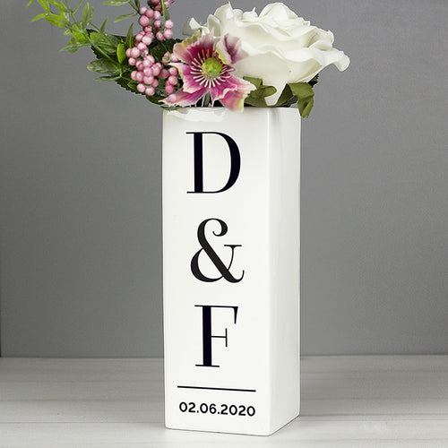 Personalised Initials Square Vase - perfect for Birthdays, Weddings, Anniversaries etc.