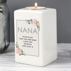 Personalised Floral Sentimental Ceramic Tea Light Candle Holder