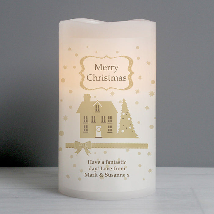 Personalised Christmas Festive Village LED 'Candle'