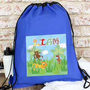 Personalised Animal Alphabet Swim & Gym Bag - Available in Pink and Blue
