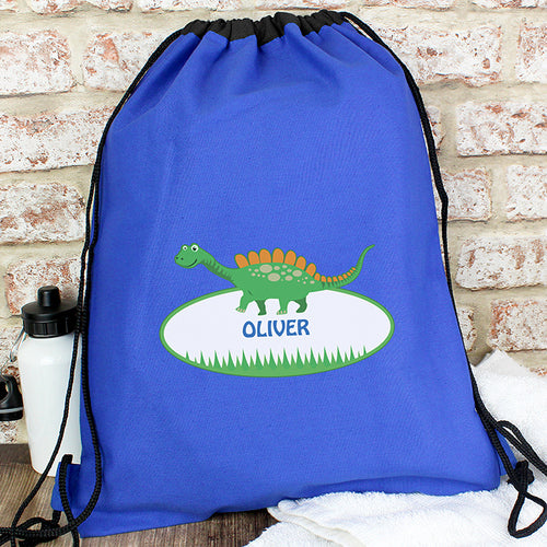 Personalised Dinosaur Swim, Gym or Kit Bag - Available in Blue or Black