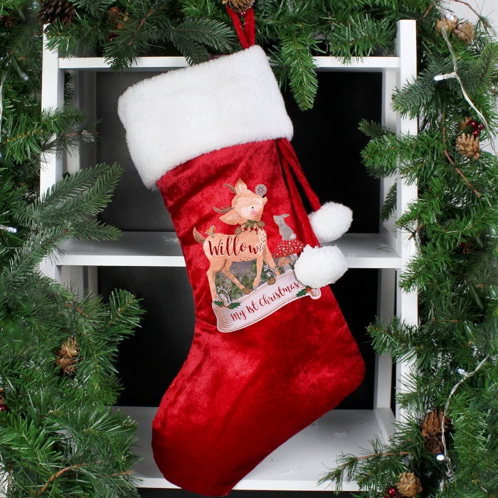 Personalised Festive Fawn Christmas Stocking