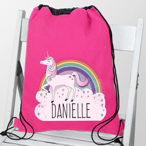 Personalised Rainbow Unicorn Pink Swim / Gym / Kit Bag