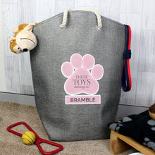 Personalised Paw Prints Storage Bag - Available in Blue or Pink