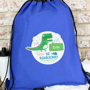 Personalised 'Be Roarsome' Dinosaur Swimming, Gym or Kit Bag