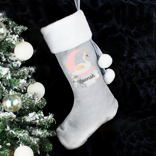 Personalised Swan Lake Luxury Silver Grey Christmas Stocking