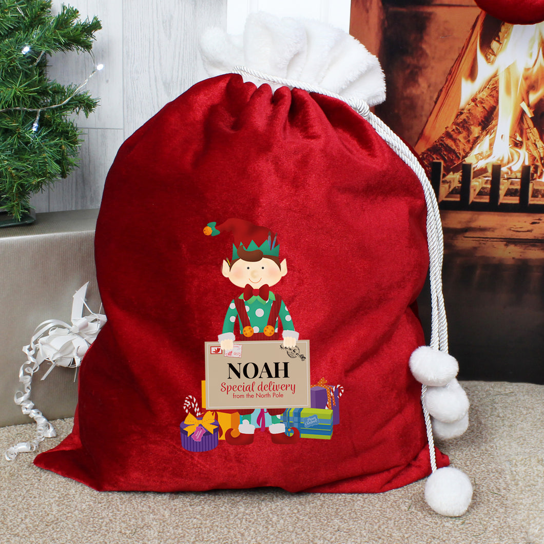 Personalised Elf Luxury Pom Pom Christmas Sack