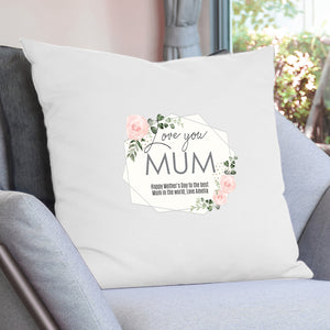 Personalised 'Love You' Abstract Rose Cream Cushion Cover