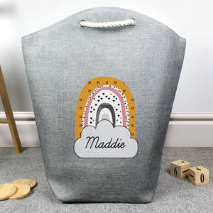 Personalised Rainbow Storage and/or Laundry Bag - Available in Mustard/Pink or Mustard/Green