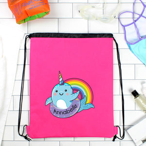 Personalised Pink Rainbow Narwhal Swimming, Gym or Kit Bag