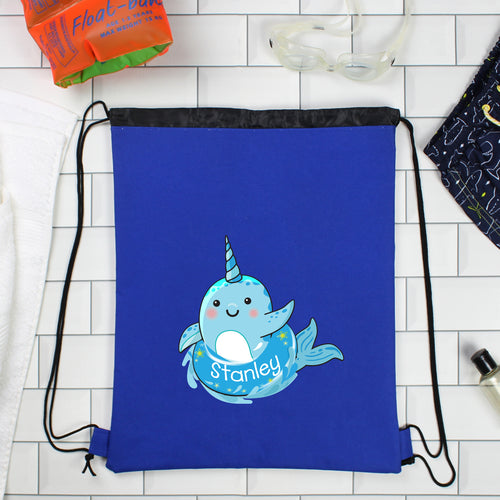 Personalised Blue Narwhal Swimming, Gym or Kit Bag