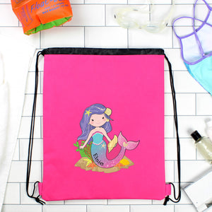 Personalised Pink Mermaid Swimming, Gym or Kit Bag