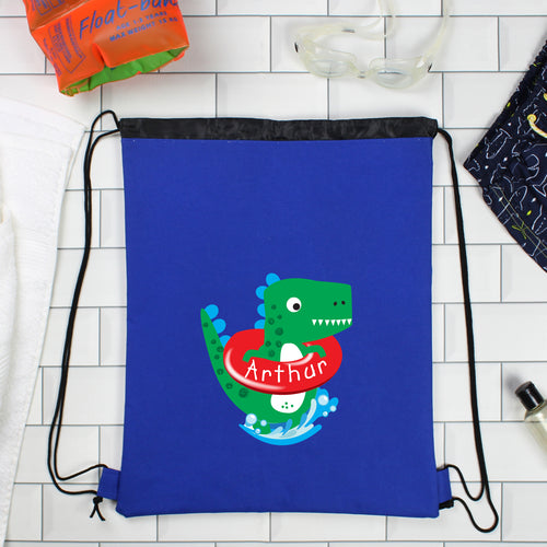 Personalised Blue Dinosaur Swimming, Gym or Kit Bag