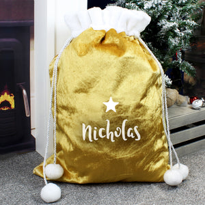 Personalised Gold Luxury Pom Pom Christmas Sack