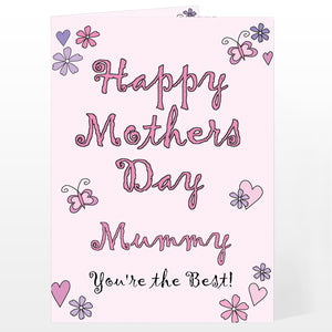 Personalised Flowers and Butterflies Happy Mothers Day Card (FREE SHIPPING)