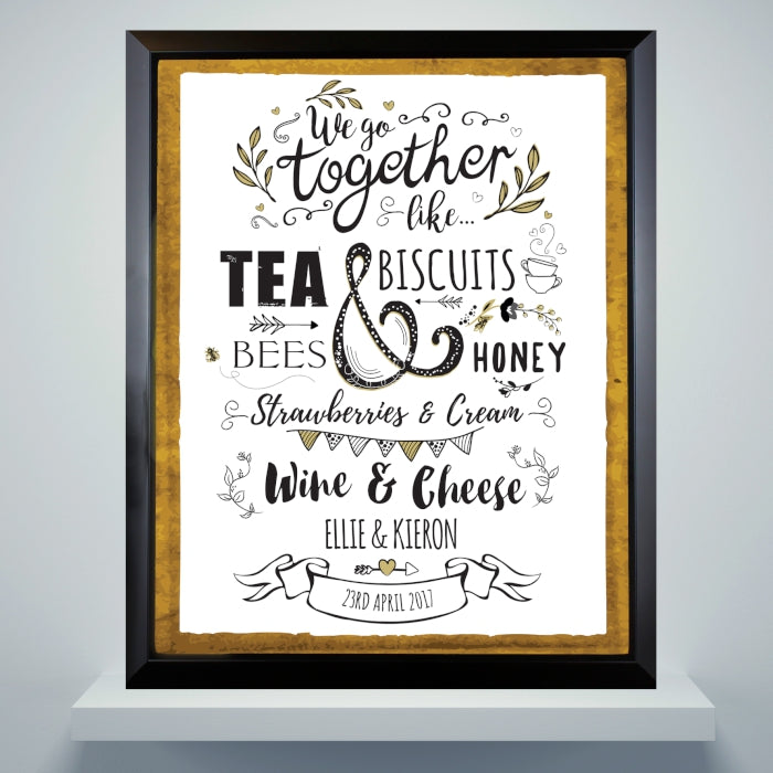 Personalised We Go Together Like... Black Framed Poster Print - Ideal for Weddings, Anniversaries and Valentine's Day