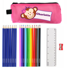 Personalised Monkey Pencil Case plus Stationary - Pink or Blue