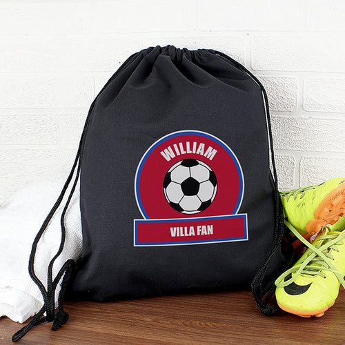 Personalised  Football Fan Swim & Gym Bag: Available in Claret, White, Red or Blue