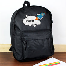 Personalised Black Rocket Backpack