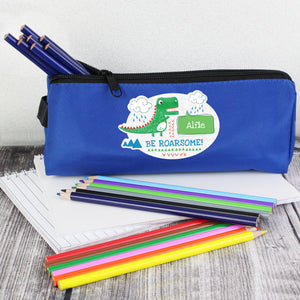 Personalised 'Be Roarsome' Blue Dinosaur Pencil Case