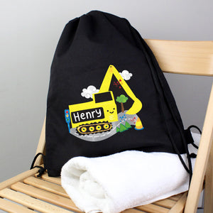 Personalised Digger Black Swim / Gym / Kit Bag
