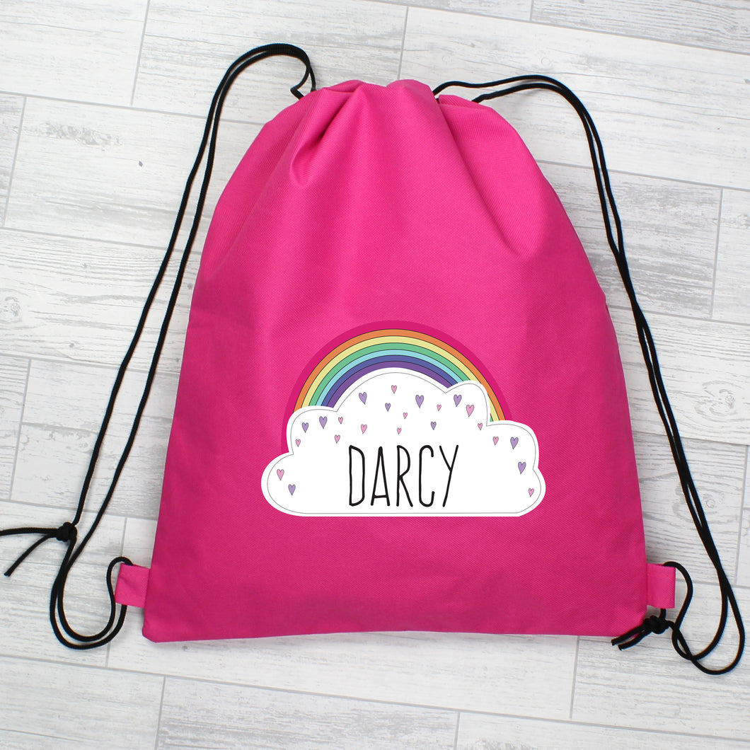 Personalised Rainbow Pink Swim / Gym / Kit Bag