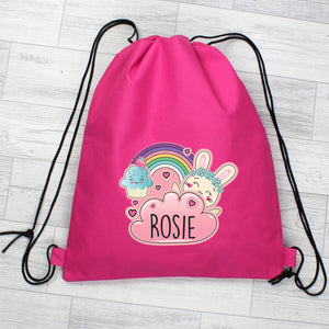 Personalised Pink Cute Bunny Swim / Gym / Kit Bag