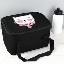 Personalised Cute Cat Black Lunch Bag