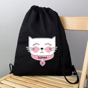 Personalised Cute Cat Black Swim / Gym / Kit Bag