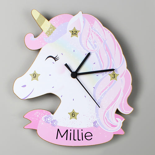 Personalised Unicorn Head Wooden Clock