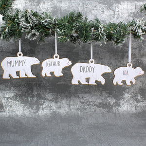 Personalised Polar Bear Family Wooden Hanging Decorations - Set of Four