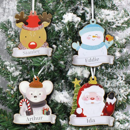 Personalised Colourful Christmas Characters Wooden Hanging Decorations - Set of Four
