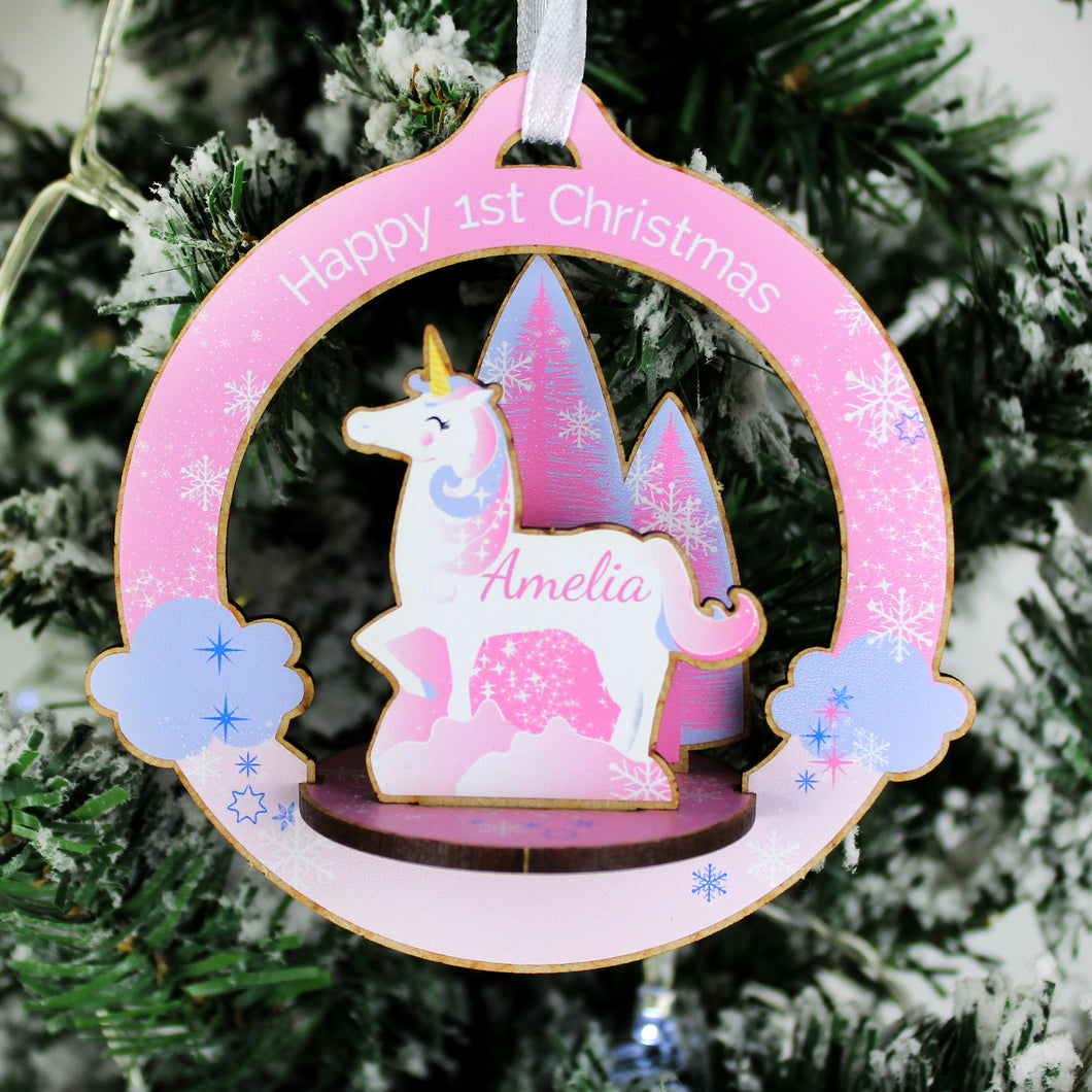 Personalised Make Your Own Unicorn 3D Christmas Hanging Decoration