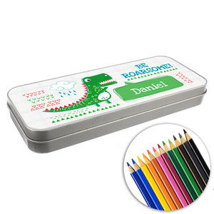 Personalised 'Be Roarsome' Dinosaur Pencil Tin with 12 Colouring Pencils