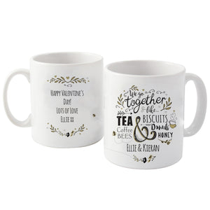 Personalised We Go Together Like... Mug - Ideal for Weddings, Anniversaries and Valentine's Day