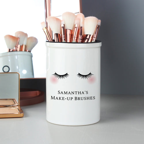Personalised Eyelashes Tall Ceramic Storage Pot