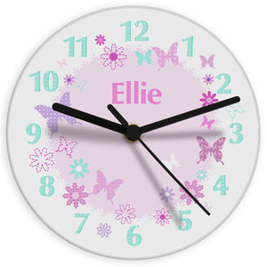 Personalised Butterfly Glass Clock