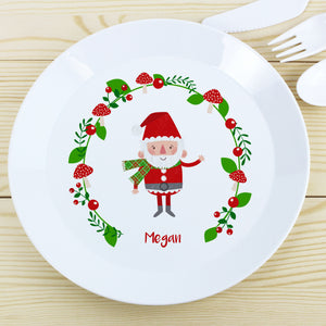 Children's Personalised Forest Christmas Santa Plastic Plate