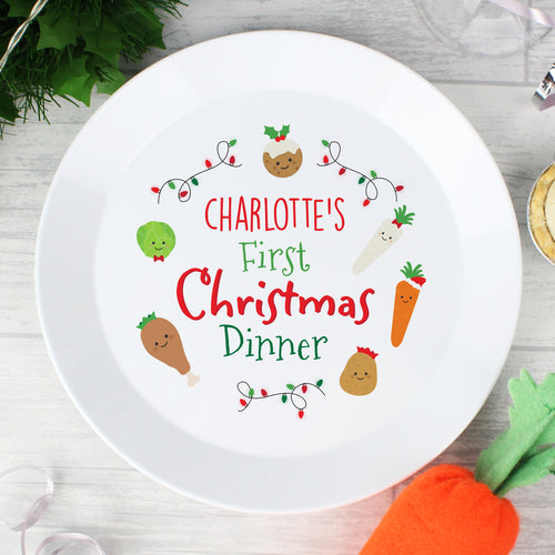 Children's Personalised 'First Christmas Dinner' Plastic Plate
