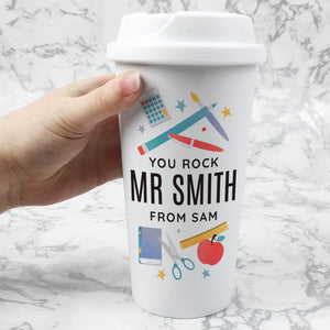 Personalised Teachers Double Walled Plastic Travel Mug