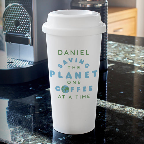 Personalised 'Saving the Planet' Double Walled Plastic Travel Mug