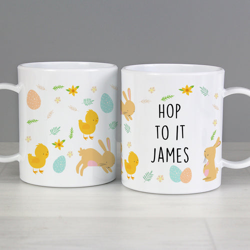 Personalised Easter Bunny & Chick Children's Plastic Mug