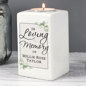 Personalised 'In Loving Memory of' Ceramic Tea Light Candle Holder