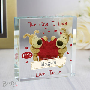 Personalised Boofle Shared Heart Large Crystal Token - perfect for Valentine's Day
