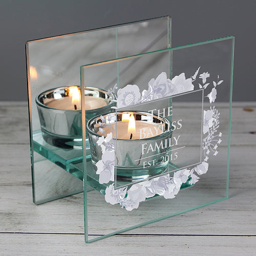 Personalised Soft Watercolour Mirrored Glass Tea Light Holder - perfect for Valentine's Day, Weddings, Anniversaries
