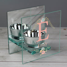 Personalised Floral Bouquet Mirrored Glass Tea Light Candle Holder